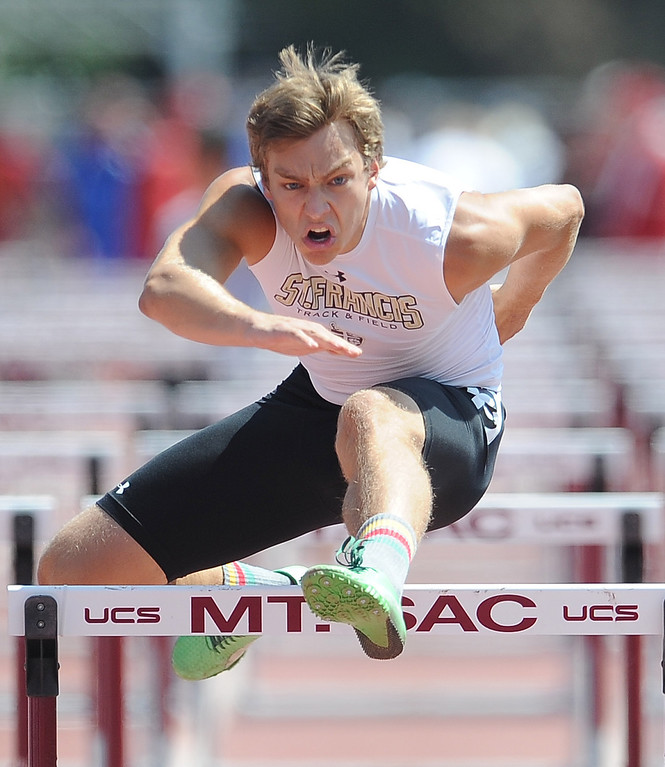 Description of . St. Francis's Caleb Simmeth in the 100 meter high hurdles during the CIF-SS track & Field championship finals in Hilmer Stadium on the campus of Mt. San Antonio College on Saturday, May 18, 2013 in Walnut, Calif.  (Keith Birmingham Pasadena Star-News)