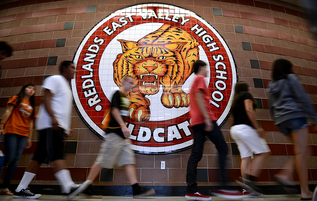 Description of . Redlands East Valley High School is welcoming the incoming class of 2017, nearly 600 freshmen Tuesday August 6, 2013. An on campus organization made up with students and faculty advisors, the Link Crew, escorts groups of freshmen around campus, to classrooms, holds discussions on morning schedules and runs through a host of exercises designed to introduce the students to the campus as well as to each other. School begins on August 14. (Staff photo by Rick Sforza)