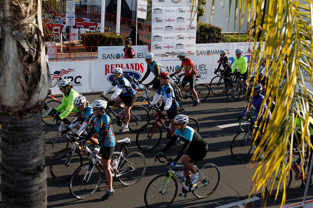Description of . Participants of the R.U.F.F. Ride head east on Citrus Avenue during the Redlands Bicycle Classic on Saturday, April 5, 2014 in Redlands, Ca. (Photo by Micah Escamilla for the Redlands Daily Facts)