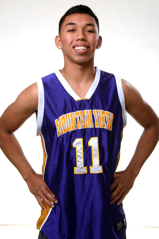 Description of . Mountain View's Isaih Mendoza, All-Area basketball Players at the San Gabriel Valley Tribune in West Covina, Calif., on Tuesday, April 8, 2014.  (Keith Birmingham Pasadena Star-News)