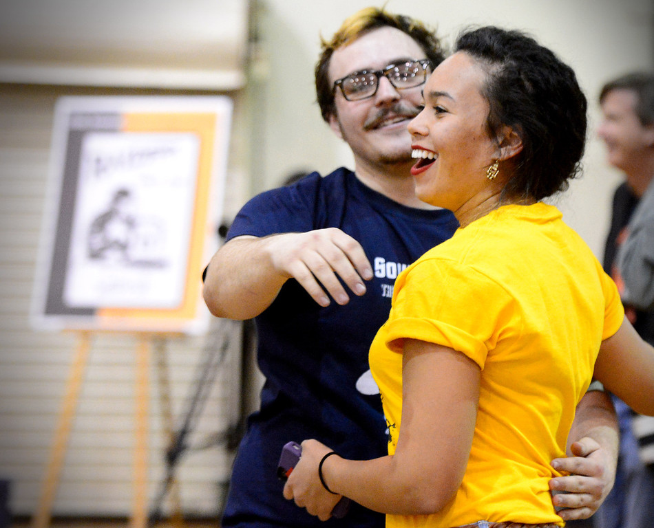 Description of . Caltech's Harrison Miller, of the Cunning Stunts,  congratulates Monica Enlow, of the 40 Pc Chicken McNuggets, as her team wins the annual ME72 Engineering Design Contest at  Caltech in Pasadena Tuesday, March 11, 2014. The goal in
