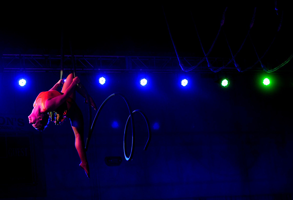 Description of . Ashley Dietz performs on the spiral during the Great Y Circus in Redlands May 3, 2013.  GABRIEL LUIS ACOSTA/STAFF PHOTOGRAPHER.