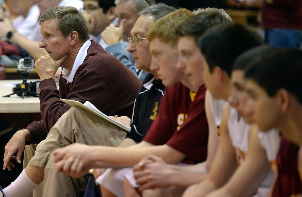 Description of . La Canada head coach Tom Hofman in the first half as they defeated La Salle 73-62 for coach Hofman's 600th win during a prep basketball game at La Canada High School in La Canada, Calif., on Friday, Jan. 10, 2014. Hofman record is 600 wins and 186 losses since becoming varsity head coach in the 1986-87 season. (Keith Birmingham Pasadena Star-News)