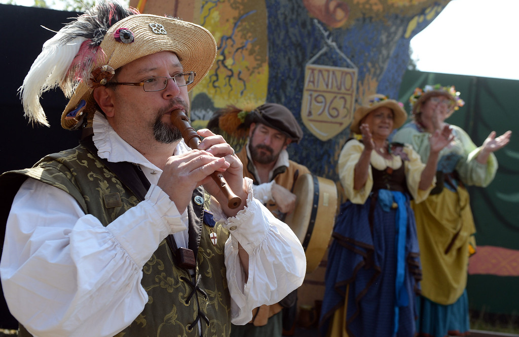 Description of . Musician perform on opening day of the Renaissance Pleasure Faire at Santa Fe Dam Recreation Area in Irwindale, Calif., on Saturday, April 5, 2014. 