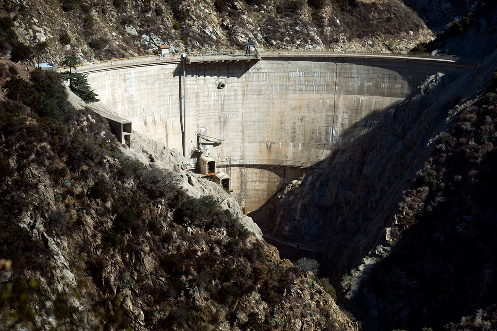 Description of . Low levels of water at Santa Anita Dam in Monrovia on Friday, Feb. 13, 2014 show the effects of the prolonged drought. Southern California is in the third year of drought. (Photo by Watchara Phomicinda/ San Gabriel Valley Tribune)