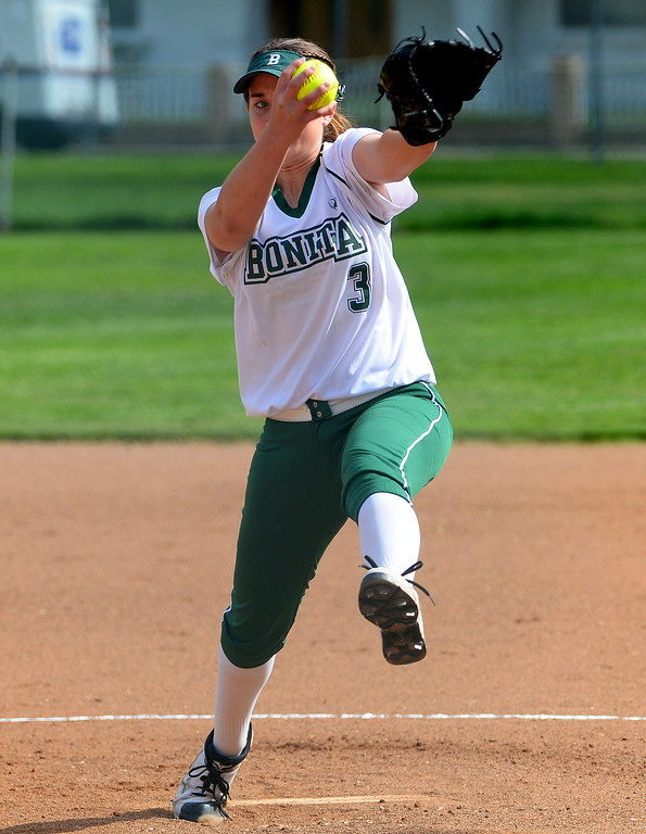 Description of . Bonita starting pitcher Kaelyn Mc Fadden throws to the plate against West Covina in the first inning of a prep softball game at Los Flores Park in La Verne, Calif., on Thursday, March 27, 2014. Bonita won 6-3. (Keith Birmingham Pasadena Star-News)