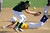 Bonita shortstop fields the ball as Charter Oak's Brooke Clemetson steals second base Liza Liddell in the first inning of Charter Oak softball Tournament softball game at the Big League Field of Dreams Park on Wednesday, March 13, 2013 in West Covina, Calif. Bonita won 3-1.  (Keith Birmingham Pasadena Star-News)