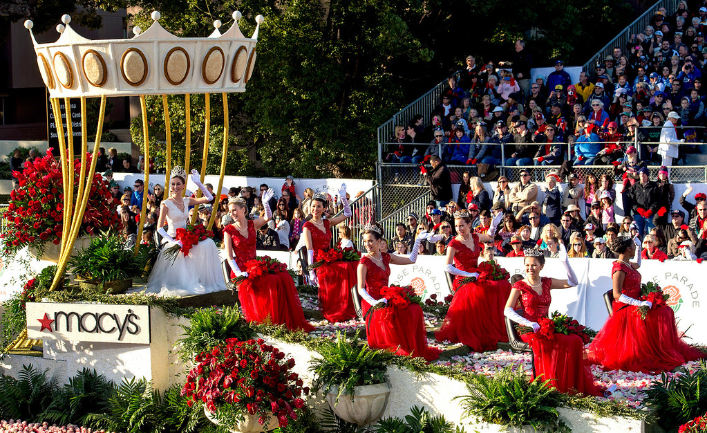 Description of . The 96th Tournament of Roses Rose Queen Ana Marie Acosta and the six princesses of Royal Court ride in Macy's