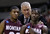 Montana head coach Wayne Tinkle, center, talks with Kareem Jamar, left, and Will Cherry during the second half of a second-round game in the NCAA college basketball tournament against Syracuse in San Jose, Calif., Thursday, March 21, 2013. Syracuse won 81-34. (AP Photo/Ben Margot)