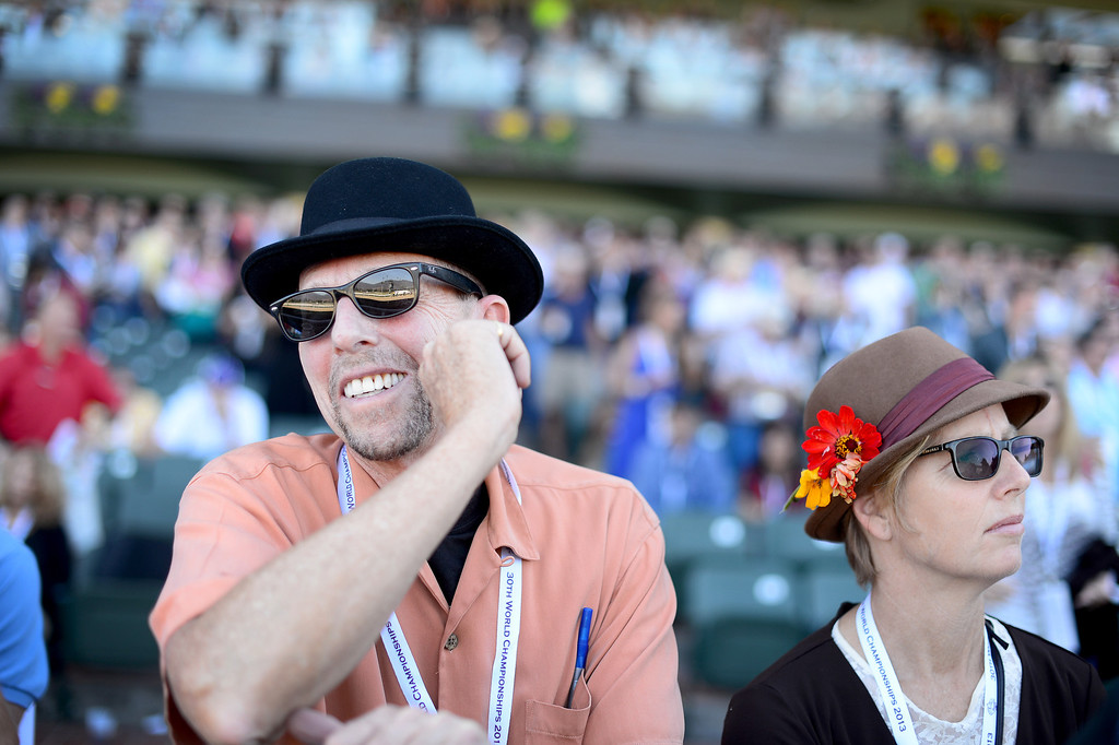 Description of . Mark Winogrond an dLucy Dyke, of Venice, watch the 5th race during the Breeders' Cup at Santa Anita Park in Arcadia Friday, November 1, 2013. (Photo by Sarah Reingewirtz/Pasadena Star-News)