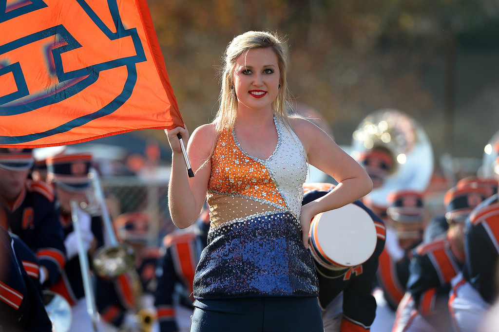 Description of . The Auburn band and drill team performs at an alumni party before the BCS game at the Rose Bowl, Monday, January 6, 2014. (Photo by Michael Owen Baker/L.A. Daily News)