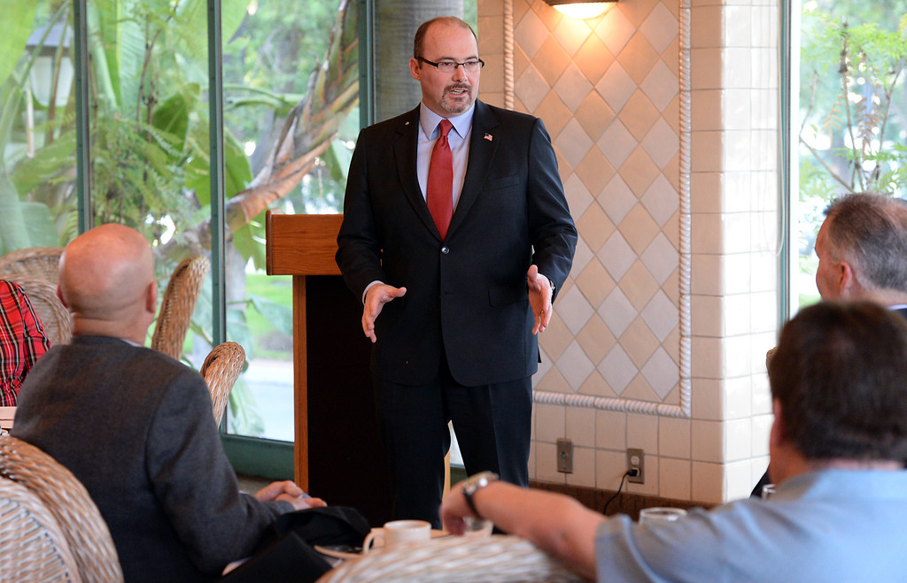 Description of . Assemblyman Tim Donnelly, Republican candidate for governor, speaks to members of the Southeast Chapter of the Los Angeles County Lincoln Club at Geezers restaurant in Santa Fe Springs on Friday January 3, 2014. (Staff Photo by Keith Durflinger/Whittier Daily News)