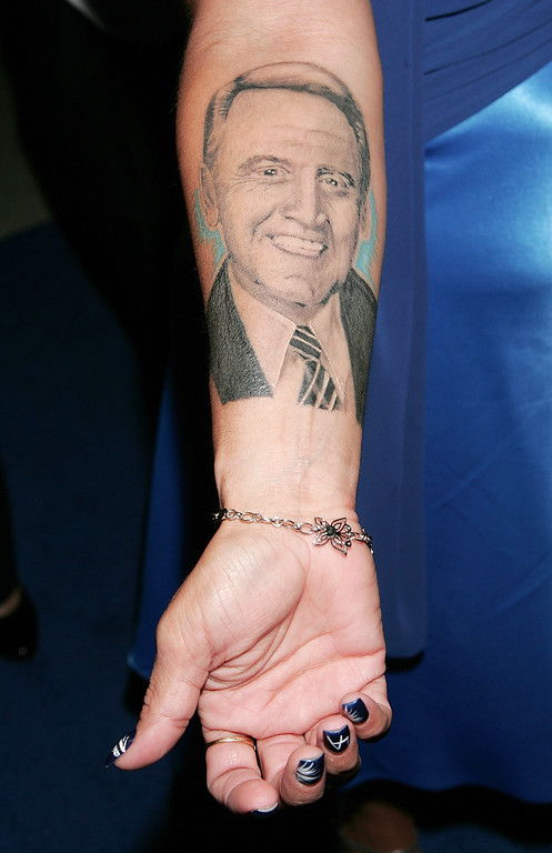 Description of . WEST HOLLYWOOD, CA - APRIL 18:  A Dodger fan's tattoo of sportscaster Vin Scully is seen at the premiere of 'Bluetopia' at the Pacific Design Center on April 18, 2009 in West Hollywood, California.  (Photo by David Livingston/Getty Images)
