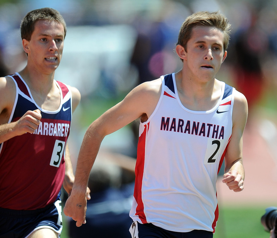 Description of . Maranatha's Kyle Bueckert in the 1600 meter race during the CIF-SS track & Field championship finals in Hilmer Stadium on the campus of Mt. San Antonio College on Saturday, May 18, 2013 in Walnut, Calif.  (Keith Birmingham Pasadena Star-News)