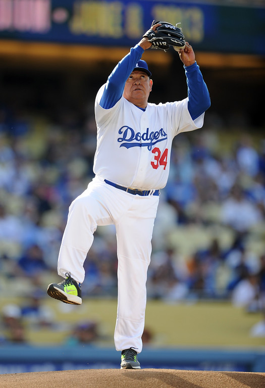 Description of . Former Los Angeles Dodgers left-handed pitcher Fernando Valenzuela during the Old-Timers game prior to a baseball game between the Atlanta Braves and the Los Angeles Dodgers on Saturday, June 8, 2013 in Los Angeles.   (Keith Birmingham/Pasadena Star-News)