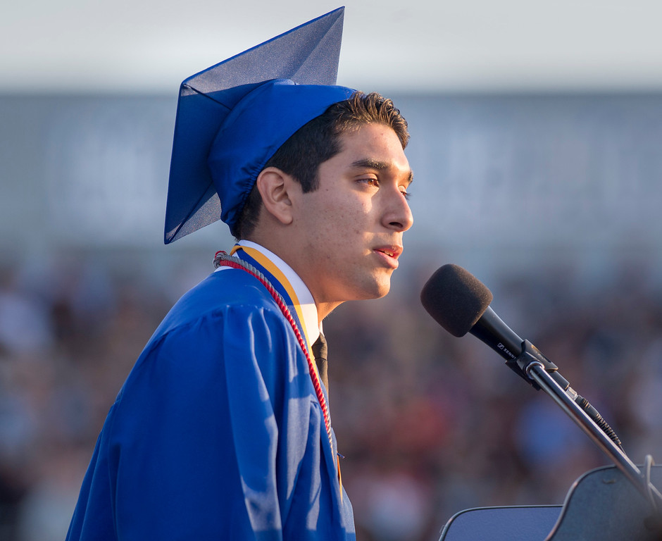 Description of . Andrew Mendez speaks during California High graduation at their Whittier campus stadium June 13, 2013.   (SGVN staff photo by Leo Jarzomb)