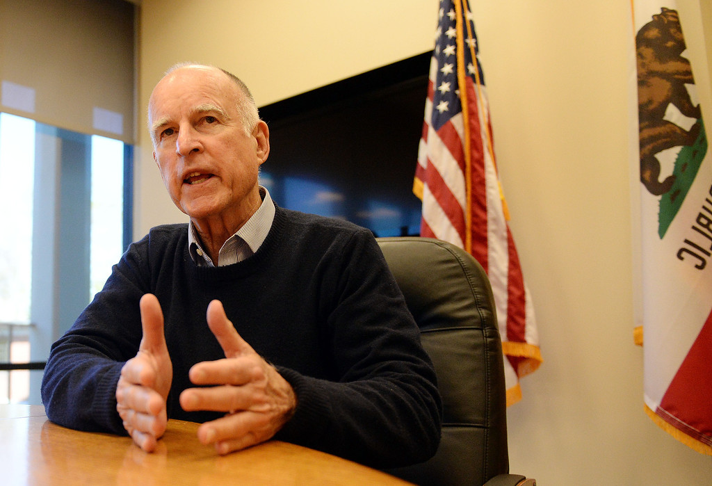 Description of . California Governor Jerry Brown speaks with members of the media Tuesday January 14, 2014 at the Riverside County Office of Education. (Will Lester/Inland Valley Daily Bulletin)
