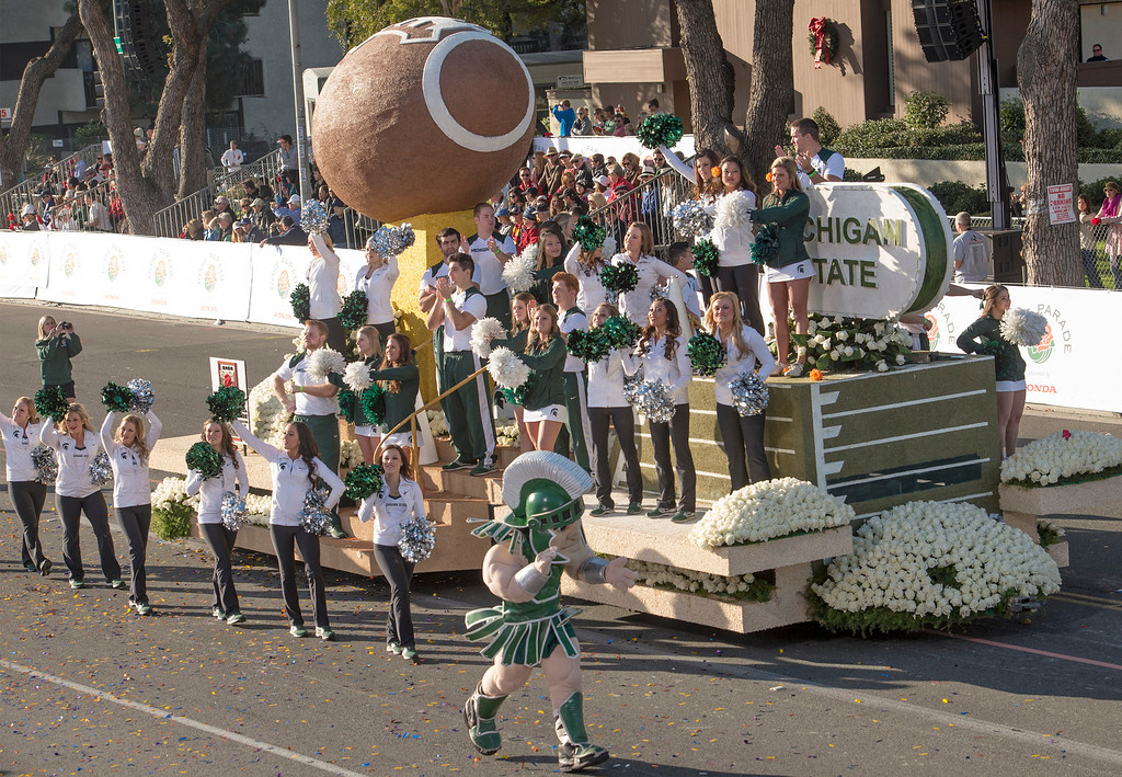 Description of . Michigan State University float during 2014 Rose Parade in Pasadena, Calif. on January 1, 2014. (Staff photo by Leo Jarzomb/ Pasadena Star-News)
