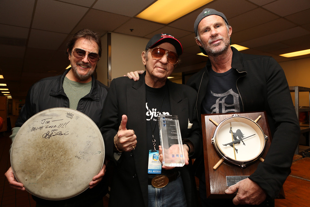 Description of . ANAHEIM, CA - JANUARY 24: Drummers Jim Keltner, Hal Blaine and Chad Smith attend the NAMM Tec Awards at the Anaheim Hilton on January 24, 2014 in Anaheim, California.  (Photo by Jesse Grant/Getty Images for NAMM)