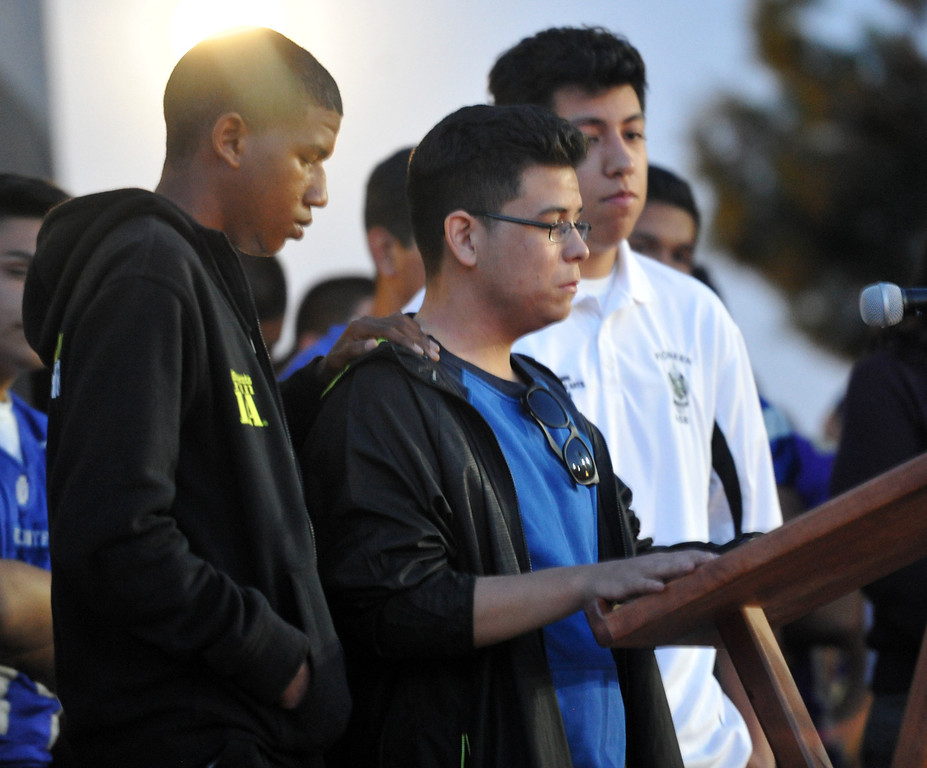 Description of . Three students who were on the bus when it crashed, share their story to family, students and members of the community gather in memory of Adrian Castro, 19, at El Monte High School Monday evening April 14, 2014. Castro was one of nine students killed in the bus crash in Orland, Calif. (Staff Photo by Keith Durflinger/San Gabriel Valley Tribune)