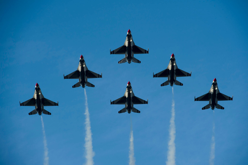 Description of . United States Air Force Thunderbirds Flyover during 2014 Rose Parade in Pasadena, Calif. on January 1, 2014.  (Staff photo by Leo Jarzomb/ Pasadena Star-News)