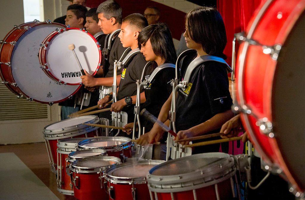 Description of . Katherine Edwards Middle School's Royal Drum Line performs during an anti-bullying rally at the West Whittier campus Sept. 23, 2013.  (Staff photo by Leo Jarzomb/SGV Tribune)