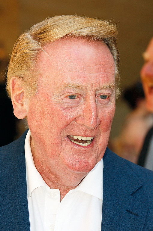 Description of . HOLLYWOOD - JUNE 20:  Dodgers radio announcer Vin Scully attends a special star ceremony honoring the Los Angeles Dodgers with an Award of Excellence on the Hollywood Walk of Fame on June 20, 2008 in Hollywood, California.  (Photo by Vince Bucci/Getty Images)
