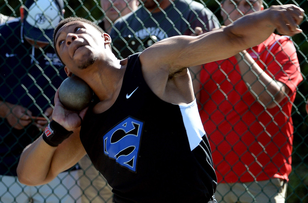 Description of . Serra's Jeremy Franklin competes in the shot put during the CIF-SS Masters Track and Field meet at Falcon Field on the campus of Cerritos College in Norwalk, Calif., on Friday, May 30, 2014.   (Keith Birmingham/Pasadena Star-News)