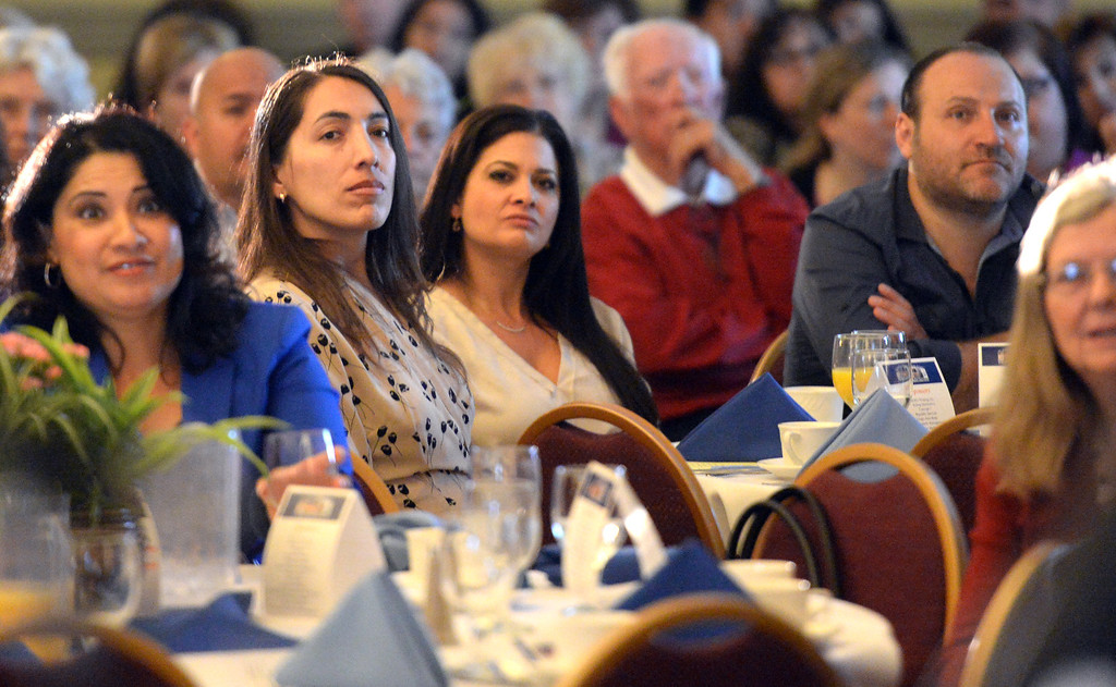 Description of . Guests listen to former mob boss, Michael Franzese, (not pictured) as he talks about his life during the 49th annual Mayor's Prayer Breakfast at the Radisson Hotel Whittier on Friday April 18, 2014. The prayer breakfast is modeled after the National Prayer Breakfast in Washington D.C. and was started in Whittier in 1965 . (Staff Photo by Keith Durflinger/Whittier Daily News)