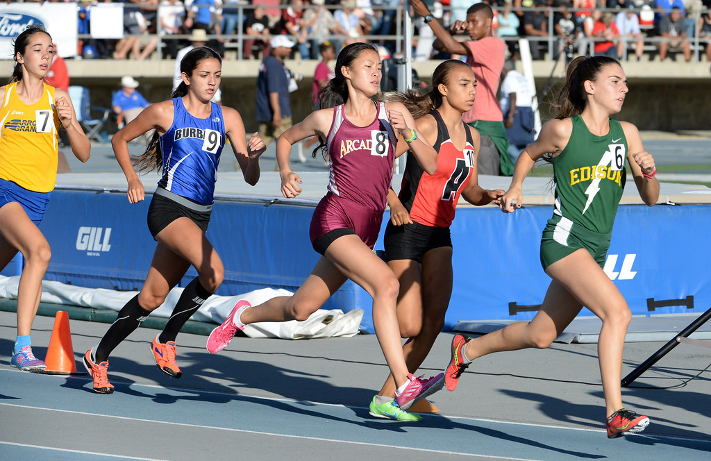 Description of . Arcadia's Veronica Yamane (8) competes in the 1600 meter run during the CIF-SS Masters Track and Field meet at Falcon Field on the campus of Cerritos College in Norwalk, Calif., on Friday, May 30, 2014.   (Keith Birmingham/Pasadena Star-News)