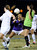 South Torrance Goalkeeper Kylie Christian deflected this shot, but could not stop the next ball strike in overtime. The Girls from Quartz Hill defeated South Torrance in a sudden death overtime in a Southern Section Division IV Semifinal soccer game. Quartz Hills, CA 2/23/2013(John McCoy/Staff Photographer)