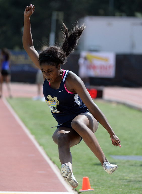 Description of . Notre Dame's Donatella Asemota competes in the long jump Invitational during the Mt. SAC Relays in Hilmer Lodge Stadium on the campus of Mt. San Antonio College in Walnut, Calif., on Saturday, April 19, 2014. 