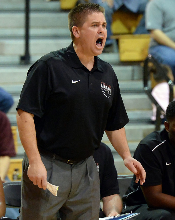 Description of . Village Christian head coach Jon Shaw reacts in the first half of a State Division 4 CIF Prep Playoff Basketball game against Cantwell at Whittier High School in Whittier, Calif., on Saturday, March 15, 2014. Cantwell won 51-48.  (Keith Birmingham Pasadena Star-News)