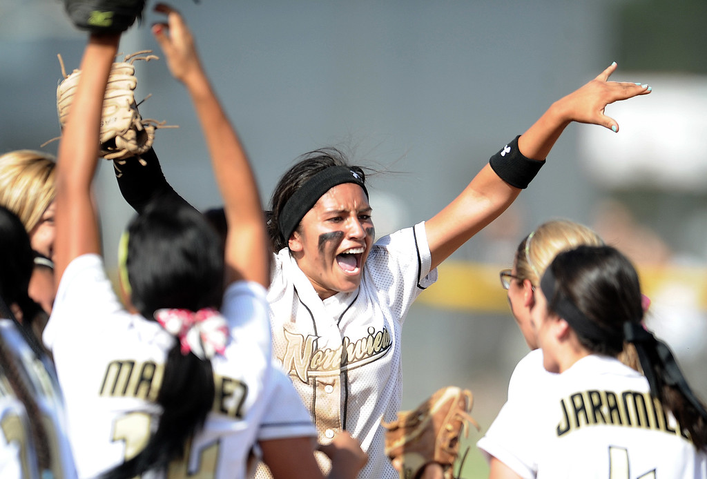 Description of . Northview celebrates with teammates after defeating Barstow 5-4 during a CIF-SS quarterfinal playoff softball game at Northview High School on Thursday, May 23, 2013 in Covina, Calif.  (Keith Birmingham Pasadena Star-News)