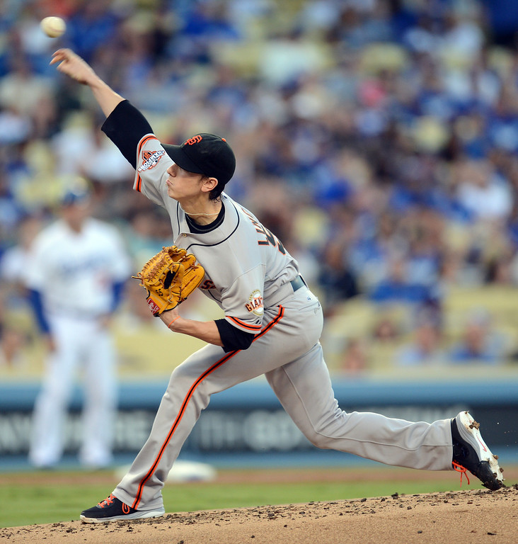 Description of . Giants pitcher Tim Lincecum #55 during their game against the Dodgers at Dodgers Stadium Saturday, September 14, 2013. (Photo by Hans Gutknecht/Los Angeles Daily News)