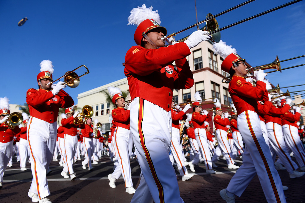 Description of . Pasadena City College Tournament of Roses Honor Band heads down Colorado Boulevard during the 125th Rose Parade in Pasadena, CA January 1, 2014. (Photo by Sarah Reingewirtz/Pasadena Star-News)