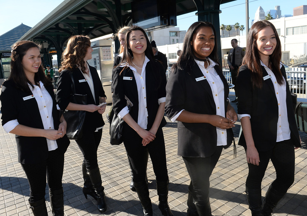 Description of . The 2014 Tournament of Roses Queen and Rose Princesses will join officials from the Los Angeles County Metropolitan Transportation Authority (Metro)