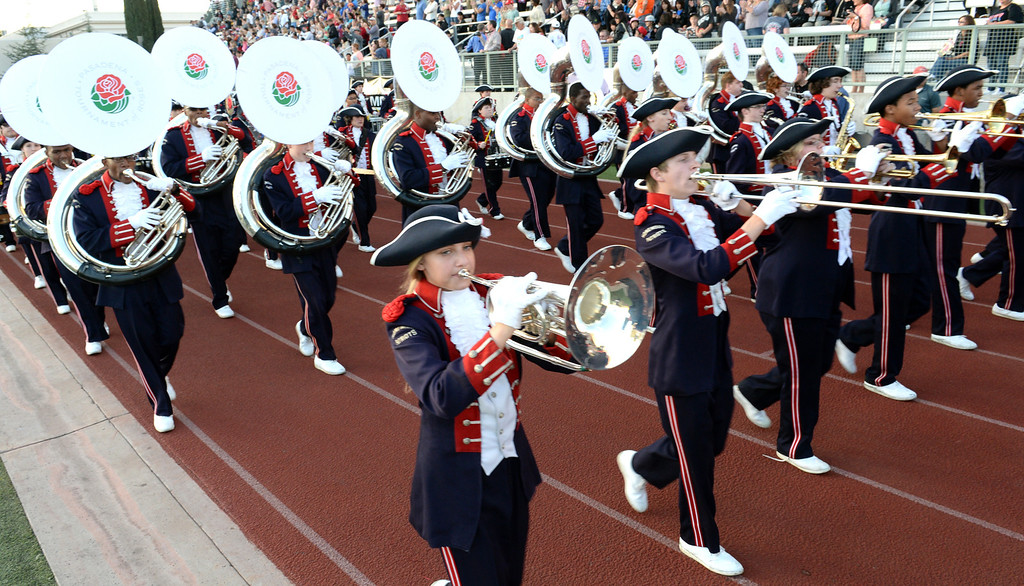 Description of . The Homewood Patriot Band from Homewood, Alabama performs during the 34th Annual Pasadena Tournament of Roses Bandfest at Pasadena City College on Monday December 30, 2013. (Staff Photo by Keith Durflinger/Pasadena Star-News)