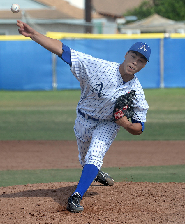 Description of . Bishop Amat starting pitcher Alex Garcia throws to the plate against La Salle in the third inning of prep baseball game at Bishop Amat High School in La Puente, Calif., on Tuesday, May 6, 2014. (Keith Birmingham Pasadena Star-News)