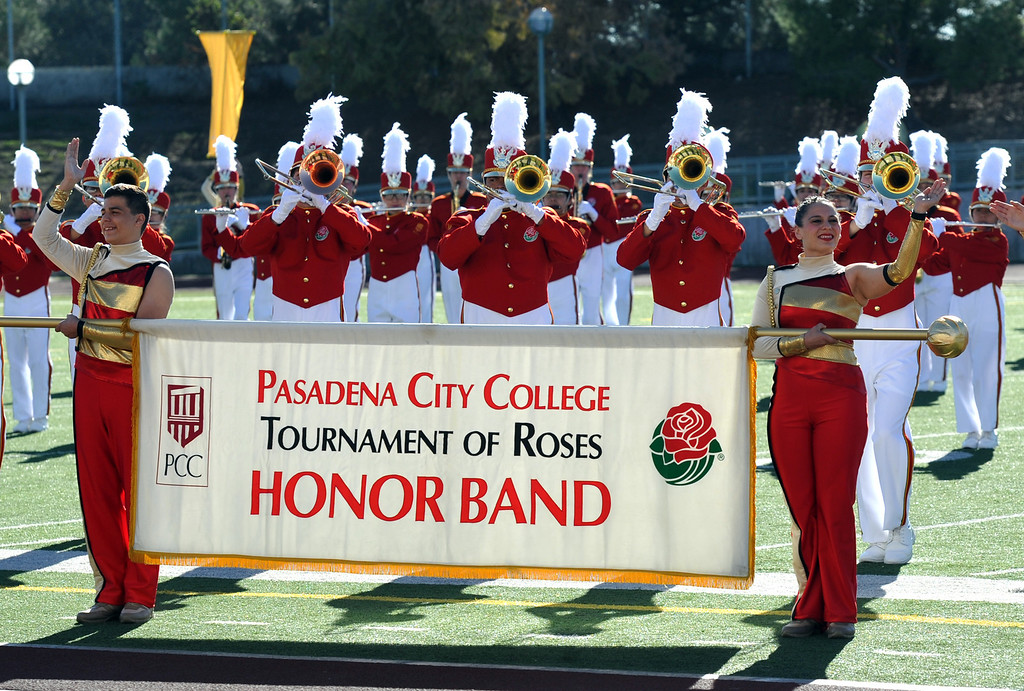 Description of . The Pasadena City College Tournament of Roses Honor Band performs during the 34th Annual Pasadena Tournament of Roses Bandfest at Pasadena City College on Monday December 30, 2013. (Staff Photo by Keith Durflinger/Pasadena Star-News) 12-30-13