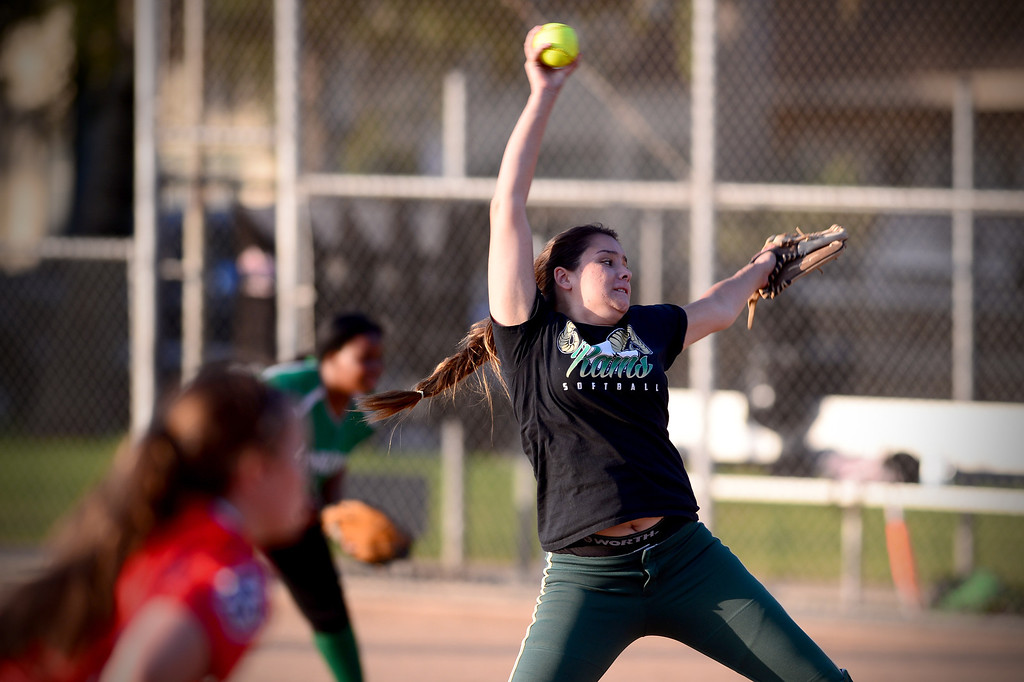 Description of . Temple City's Elise Ponce pitches during the West SGV softball all-star game Wednesday night, June 11, 2014 at Live Oak Park in Temple City. (Photo by Sarah Reingewirtz/Pasadena Star-News)