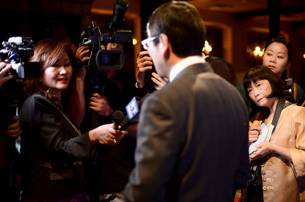 Description of . Trust Lin, director of Taiwan Tourism Bureau in Los Angeles, talks to media during a