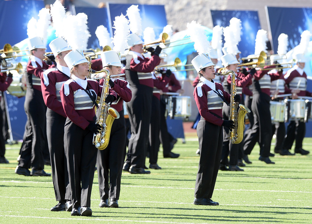 Description of . The Dobyns-Bennett High School Marching Indian Band from Kingsport, Tennessee performs during the 34th Annual Pasadena Tournament of Roses Bandfest at Pasadena City College on Monday December 30, 2013. (Staff Photo by Keith Durflinger/Pasadena Star-News)