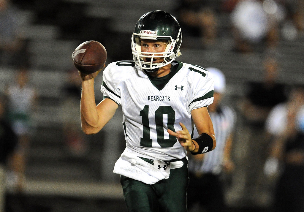 Description of . Bonita quarterback Tanner Diebold scrambles against South Hills in the first half of a prep football game at Covina District Field in Covina, Calif. on Friday, Sept. 6, 2013.   (Photo by Keith Birmingham/Pasadena Star-News)