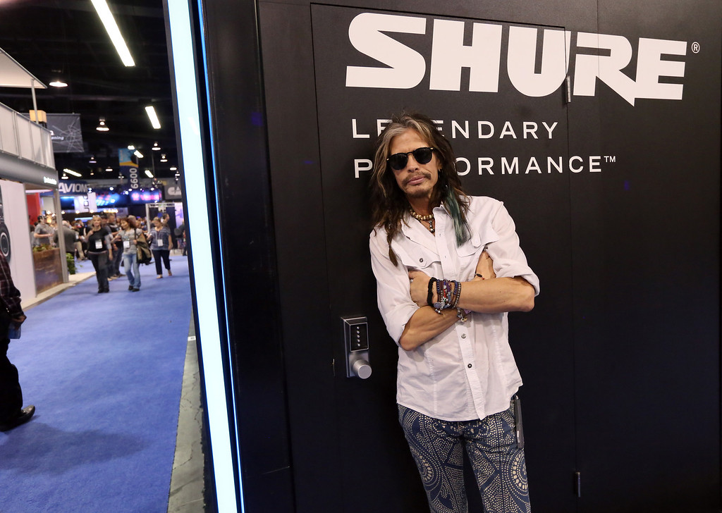 Description of . ANAHEIM, CA - JANUARY 25:  Musician Steven Tyler attends the 2014 National Association of Music Merchants show at the Anaheim Convention Center on January 25, 2014 in Anaheim, California.  (Photo by Jesse Grant/Getty Images for NAMM)