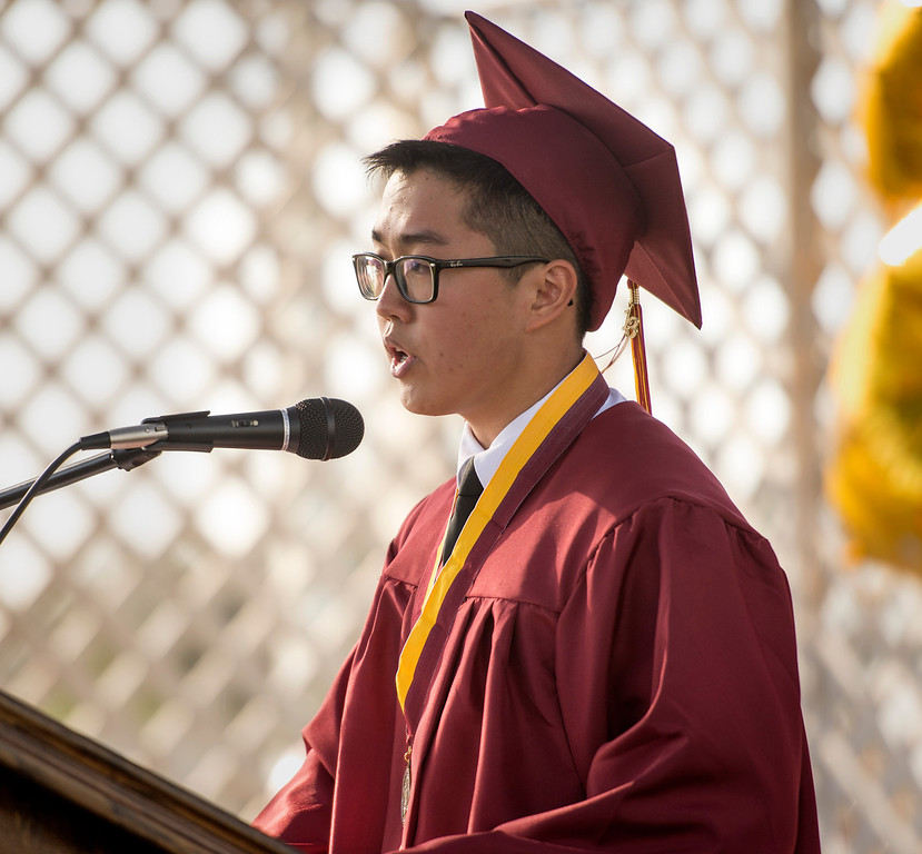 Description of . Wilson High valedictorian William Chen speaks during the 46th annual commencement exercises at the Hacienda Heights campus May 20, 2013.    (SGV Tribune staff photo by Leo Jarzomb)