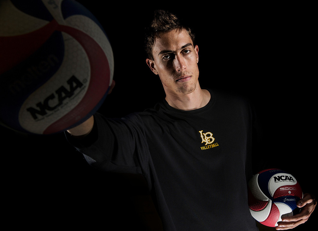 . Long Beach State University men\'s volleyball player Taylor Crabb, National Player of the Year and senior leader in Long Beach CA. Tuesday April 15, 2014.