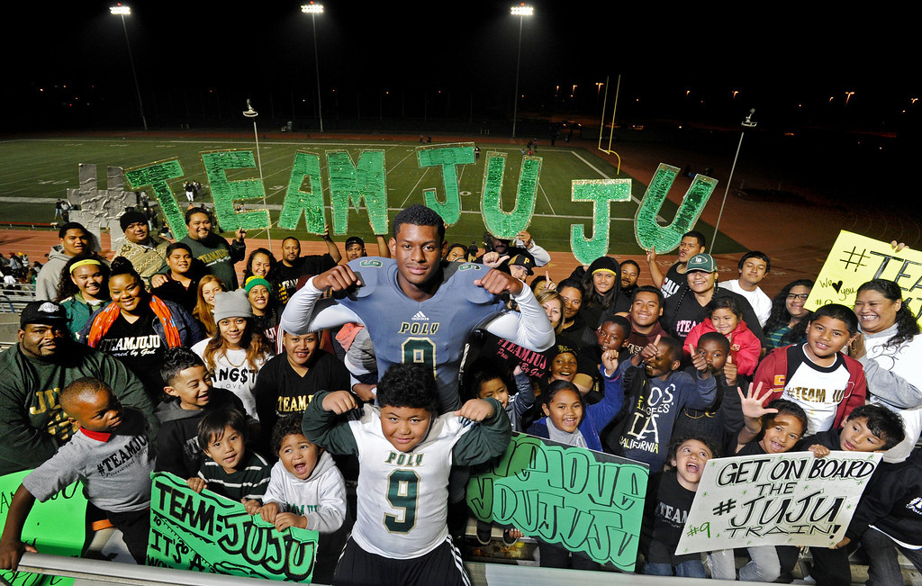 """. Poly\'s John \""""JuJu\"""" Smith has big family that takes over the stands with its own cheering section at Jackrabbit football games. Long Beach, CA. on October 11, 2013. (Photo by Sean Hiller/Press Telegram)"""