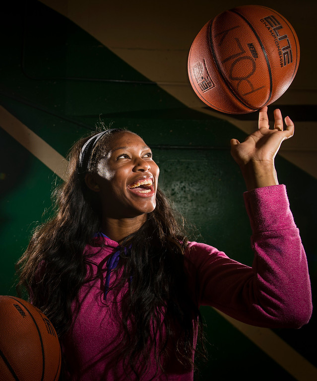 . Long Beach Poly\'s Lajahna Drummer Girls Basketball Player of the Year in Long Beach, CA. Monday April 14, 2014.