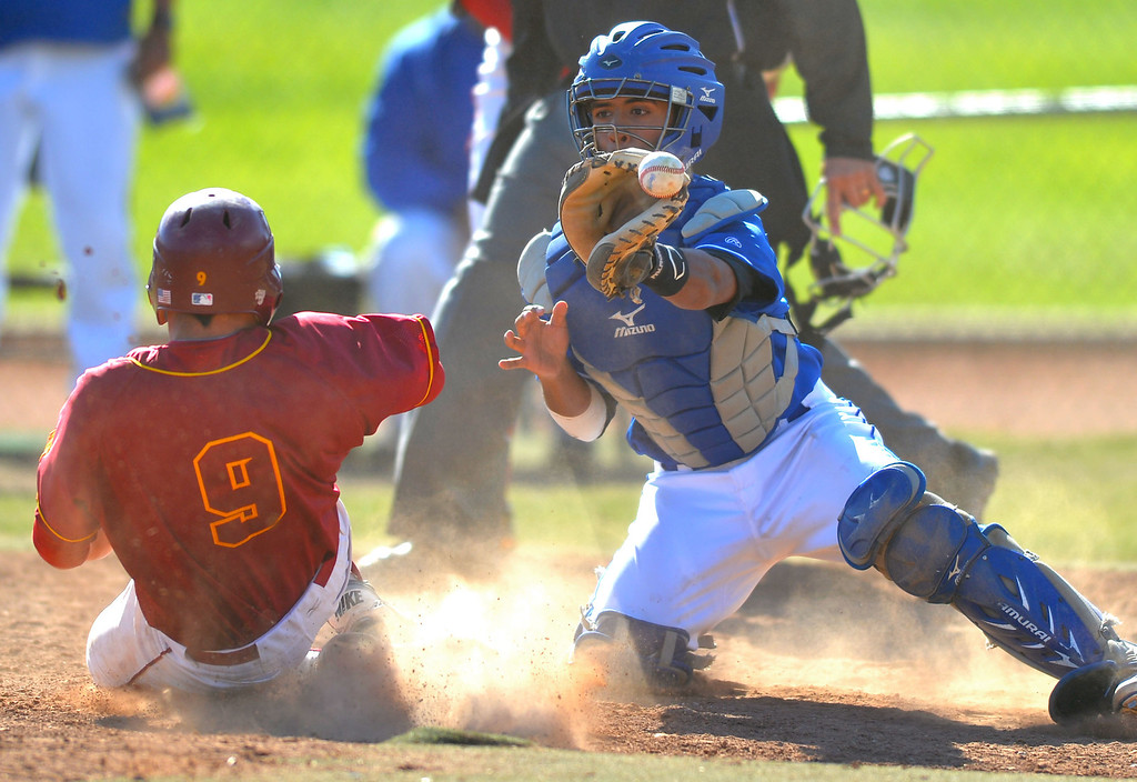 . Wilson\'s Marc Moroney beats the throw to Gahr catcher Victory Salazar, Jr and scores on a double by Will Semenson in the 4th inning in Long Beach, CA on Wednesday, April 2, 2014. In the Redondo Tournament game, Wilson defeated  Gahr 4-2. (Photo by Scott Varley, Daily Breeze)